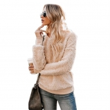 Khaki Long Sleeve O-Neck Velvet Sweater