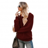 Red Long Sleeve O-Neck Velvet Sweater
