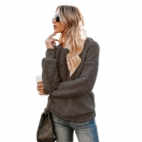 Gray Long Sleeve O-Neck Velvet Sweater