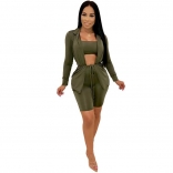 Green Long Sleeve V-Neck 3PCS Women Pant Sets