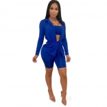 Blue Long Sleeve V-Neck 3PCS Women Pant Sets