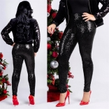 Black Women Fashion Sequins Trousers