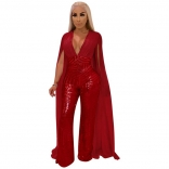 Red Sleeveless Low-cut Sequins Women Jumpsuit