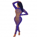 Blue Long Sleeve Rainstones Mesh Bodycons Sexy Jumpsuit