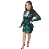 Green Long Sleeve Deep V-Neck Sequins Bodycons Mini Dress