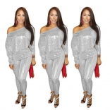 Silver Long Sleeve Sequins 2PCS Sexy Jumpsuit