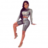 Silver Long Sleeve 2PCS Sexy Pant Sets