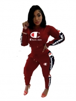 WineRed Zipper Long Sleeve Knitting Champion Sports Dress