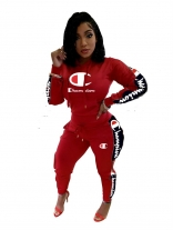 Red Zipper Long Sleeve Knitting Champion Sports Dress