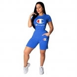 Blue Short Sleeve Printed Champion Sexy Short Sets