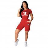 Red Short Sleeve Printed Champion Sexy Short Sets
