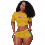 Yellow Short Sleeve Printing Sexy Pant Sets