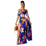 Blue Off-Shoulder Hollow-out Printed Slited Jersey Dress