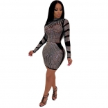 Black Long Sleeve Rainstones Bodycons Sexy Mini Dress