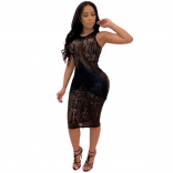 Black Sleeveless Sequins Mesh Tassels Bodycons Mini Dress