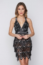 Black Sleveeless Halter Belt Tassels Sequins Mini Dress