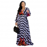 Black White Stripepd Printed Summer Chiffion Women Maxi Dress