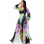 White V-Neck Printed Summer Chiffion Women Maxi Dress