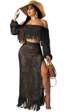 Black Off-Shoulder Hollow-out Tassels Women Maxi Dress