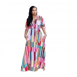 Pink Short Sleeve V-Neck Printed Stripped Maxi Dress