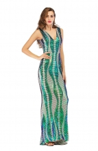 Green Sleeveless Deep V-Neck Sequins Women Evening Dress