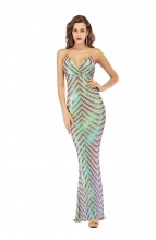 Green Sleeveless Halter V-Neck Sequins Women Evening Dress