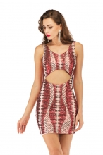 Red Sleeveless Halter Hollow-Out Sexy Sequins Mini Dress
