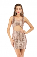 Golden Sleeveless Halter Hollow-Out Sexy Sequins Mini Dress