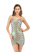 Green Halter V-Neck Sleeveless Sequins Mini Dress