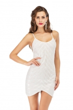 White Halter V-Neck Sleeveless Sequins Mini Dress