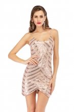 Golden Halter V-Neck Sleeveless Sequins Mini Dress