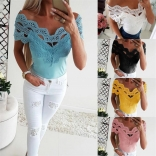 Blue Lace Sexy Women Club Tops