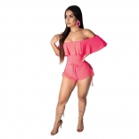 Pink Off-Shoulder Foral Lace-up Women Rompers