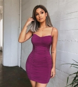 Purple Sleeveless Halter Bodycons Mini Dress