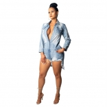 Blue Seven Sleeve Buttom V-Neck Jeans Sexy Rompers