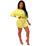 Yellow Long Sleeve Sexy Bodycons Short Sets