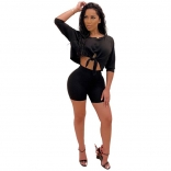 Black Long Sleeve Sexy Bodycons Short Sets