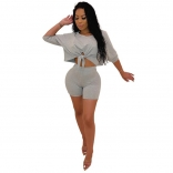 Gray Long Sleeve Sexy Bodycons Short Sets