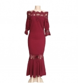 WineRed Lace Off-Shoulder Sexy Women Maxi Dress
