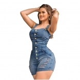 Blue Sleeveless Halter Jeans Sexy Rompers