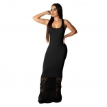 Black Sleeveless Halter Hollow-out Women Sexy Maxi Dress