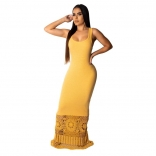 Yellow Sleeveless Halter Hollow-out Women Sexy Maxi Dress