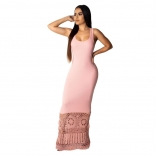 Pink Sleeveless Halter Hollow-out Women Sexy Maxi Dress