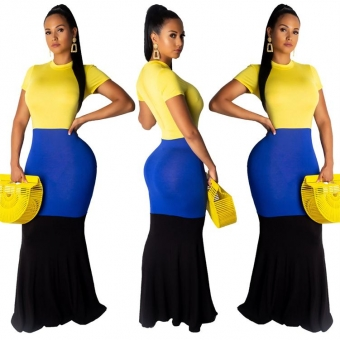 Yellow Short Sleeve Women Sexy Maxi Dress