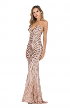 Beige Halter Backless Sequins V-Neck Elegent Evening Dress