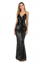 BlackHalter Backless Sequins V-Neck Elegent Evening Dress