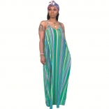 Green Halter V-Neck Stripped Printed Maxi Dress