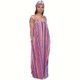 Purple Halter V-Neck Stripped Printed Maxi Dress