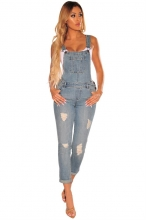 Light Blue Halter Jeans Backless Sexy Jumpsuit