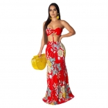 Red Sleeveless Printed 2PCS Women Sexy Maxi Dress